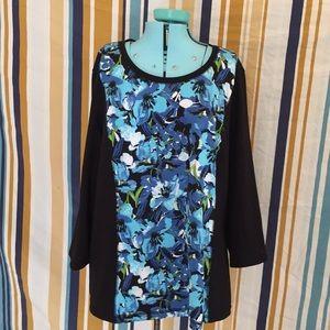 Plus Size Blue Floral Catos Long Sleeve Shirt